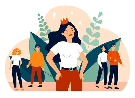Selfish girl and society flat vector illustration. Arrogant young woman not seeing angry people. Social problem and communication concept. 免版税图像 - 147797742