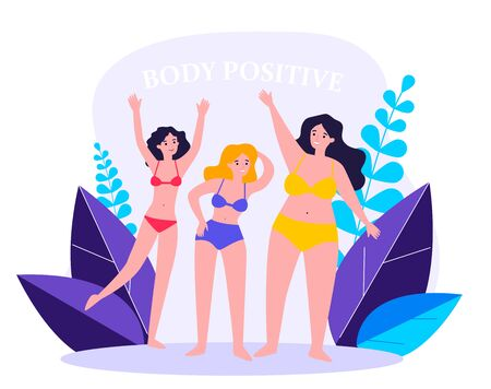 Body positive female characters in bikini waving by hands flat vector illustration. Happy plus size girls in swimsuits with different figures. Beauty and active healthy lifestyle concept