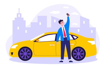 Happy young man leasing car flat vector illustration. Driver holding in hand keys to his new vehicle. Dealer making presentation for modern auto. Transport and lease concept Illustration
