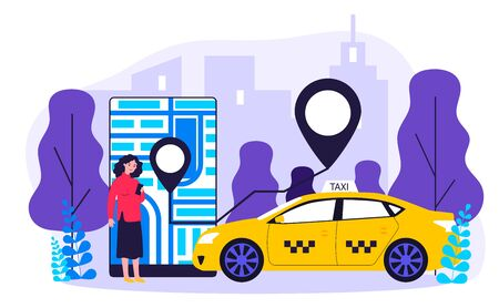Young woman taking cab via mobile app flat vector illustration. Lady tracking car route on city map in taxi application. Transportation, service and people travelling concept.