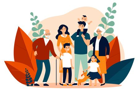 Happy big family standing together flat vector illustration. Grandma, grandpa, mom, dad, children, and pet. Smiling cartoon characters gathering in group. Illustration