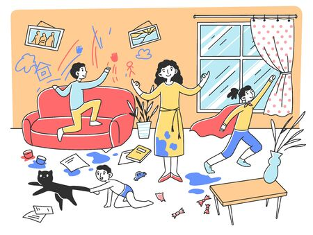 Calm mother meditating in chaos flat vector illustration. Mischievous and naughty children playing and destroying room. Parenting and behavior concept Illustration