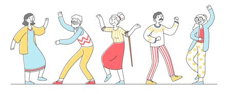 Group of happy old people dancing Illustration