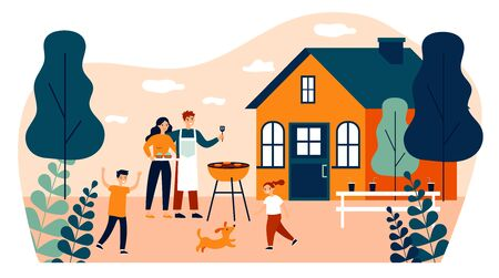 Happy family doing barbecue at garden flat vector illustration. Mother and father cooking outdoor near house. Kids playing with dog at backyard. BBQ party and weekend concept Illustration