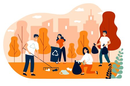 Happy volunteers collecting garbage in city park flat vector illustration. People cleaning environment nature in team. Ecology and clean planet concept