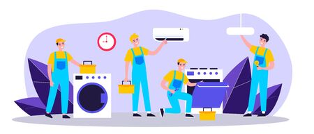 Happy servicemen repairing machines at home flat vector illustration. Electrician, mechanic or repairer at work. Repair and maintenance concept. Иллюстрация