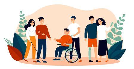 Bénévoles au service des personnes handicapées. Groupe d'hommes et de femmes ayant des besoins spéciaux, en fauteuil roulant, avec prothèse. Illustration vectorielle pour le soutien, la diversité, le handicap, le concept de mode de vie Vecteurs