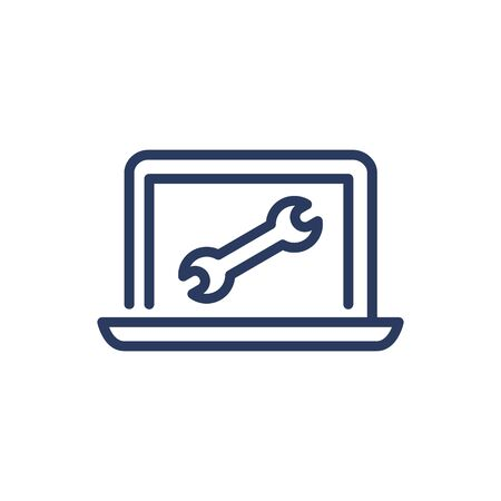 Laptop repair service thin line icon. Wrench, spanner, digital device isolated outline sign. Repair and maintenance concept. Vector illustration symbol element for web design and apps