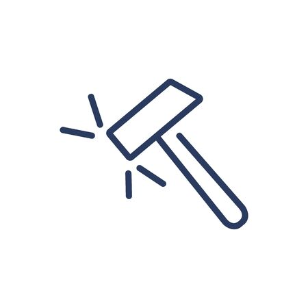 Sledgehammer thin line icon. Construction, blacksmith, destruction isolated outline sign. Repair and maintenance concept. Vector illustration symbol element for web design and apps