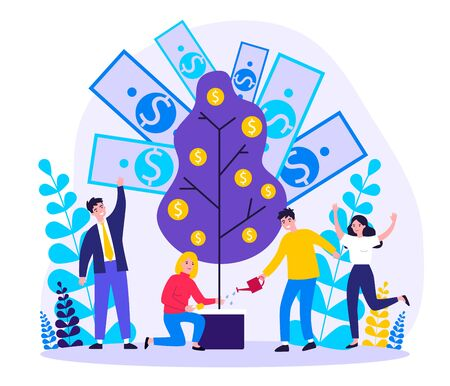 Cheerful people investing finance flat vector illustration. Cartoon characters growing money tree. Financial wealth, growth and prosperity concept. Ilustrace