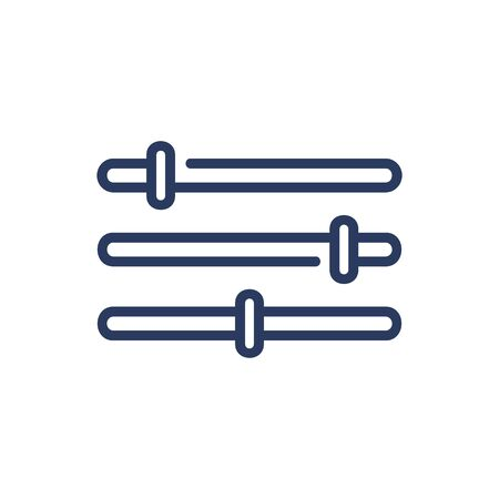 Slider bars thin line icon. Regulation, setting, adjusting isolated outline sign. Image editing and photo correction concept. Vector illustration symbol element for web design and apps