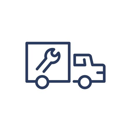 Service truck thin line icon. Wrench, vehicle, technician isolated outline sign. Repair and maintenance concept. Vector illustration symbol element for web design and apps Иллюстрация
