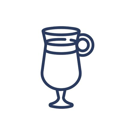 Glass of hot drink thin line icon. Tea, coffee, cocktail isolated outline sign. Breakfast drink or cafe concept. Vector illustration symbol element for web design and apps 向量圖像