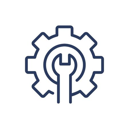 Wrench and gear thin line icon. Machinery, cogwheel, mechanism isolated outline sign. Repair and maintenance concept. Vector illustration symbol element for web design and apps