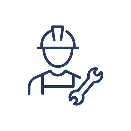 Wrench and technician thin line icon. Builder, uniform, workman isolated outline sign. Repair and maintenance concept. Vector illustration symbol element for web design and apps