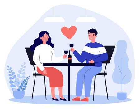 Happy young couple dating in restaurant on Valentines day. Man and woman sitting at table, drinking wine, celebrating anniversary. Vector illustration for relationship, love, romantic dinner concept Vectores
