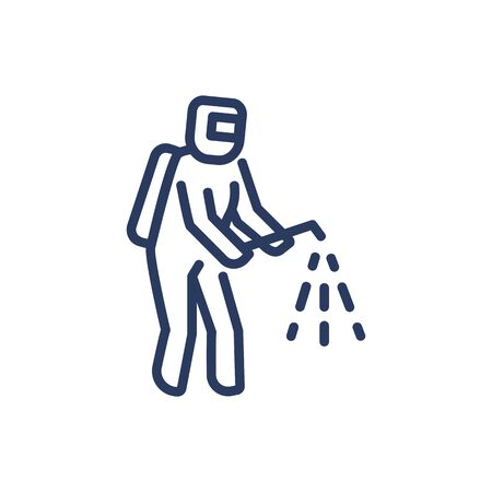 Disinfection worker thin line icon
