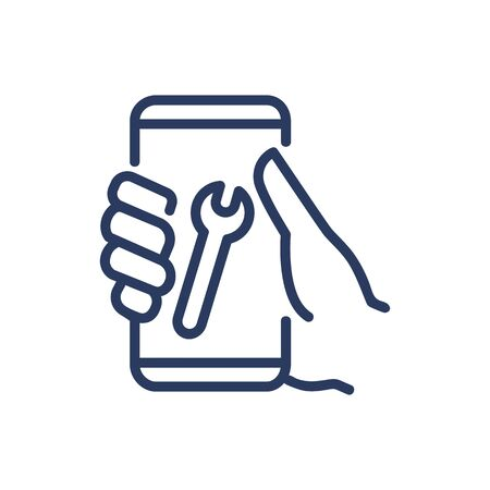 Mobile phone repair service thin line icon. Hand, smartphone, spanner isolated outline sign. Repair and maintenance concept. Vector illustration symbol element for web design and apps Иллюстрация
