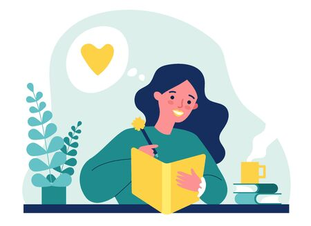 Teenage girl writing diary or journal. Happy young woman reading book and taking notes with pencil. Vector illustration for journal, author, student, teenager in love concept