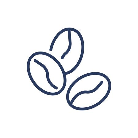 Coffee beans thin line icon. Crop, seed, grain, arabica isolated outline sign. Agriculture or coffee shop concept. Vector illustration symbol element for web design and apps Illustration