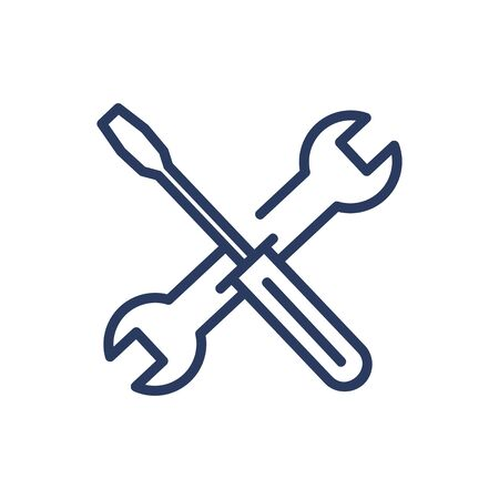 Spanner and screwdriver thin line icon