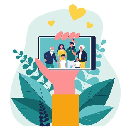 Hand holding phone with family photo on screen flat vector illustration. Picture of parents, grandparents and children on smartphone. Digital technology and relations concept