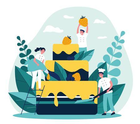 Pastry chefs cooking big birthday cake 矢量图像
