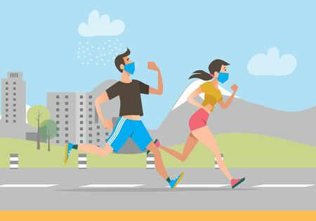Active people in face masks running outdoors
