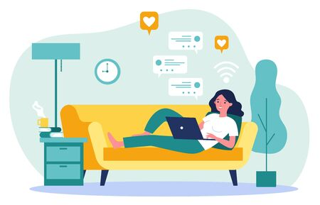 Beautiful woman relaxing at sofa with laptop computer flat vector illustration. Young girl staying at home and chatting with friends via digital device. Digital technology and entertainment concept.