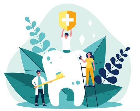 Tiny people cleaning big tooth flat vector illustration. Man holding banner with medical symbol. Doctor and dentist brushing teeth with toothbrush. Stomatology and healthcare concept. Ilustração