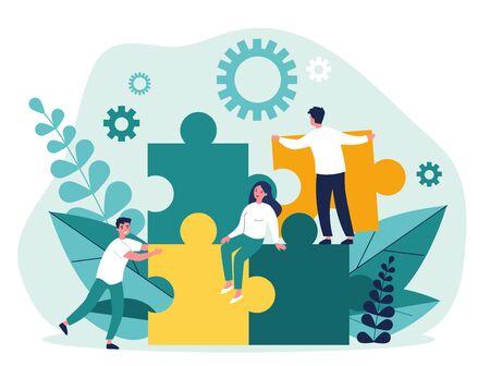 Business team constructing jigsaw solution Illustration