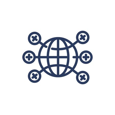 Global network thin line icon. Globe, planet, connection isolated outline sign. Computer technology concept. Vector illustration symbol element for web design and apps