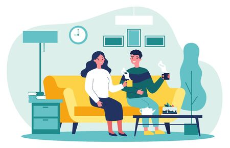 Couple in love sitting together at sofa with cups of coffee and talking flat vector illustration. Man and woman living in apartment Romantic relations and home concept