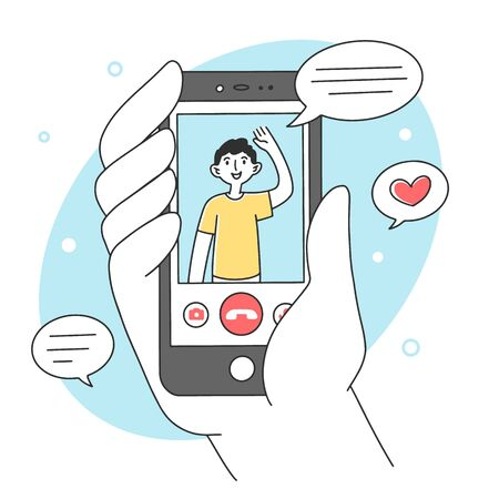 Hand holding smartphone with mobile app flat vector illustration. Happy man waving from cellphone screen. Communication and digital technology concept. Vectores