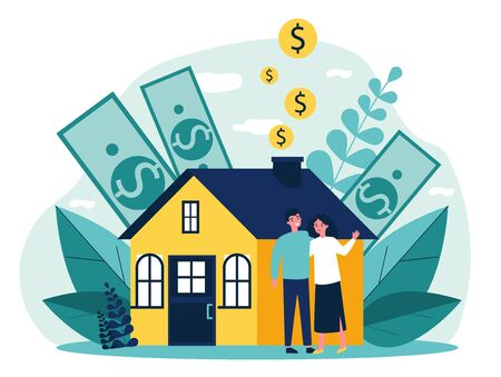 People buying property with bank credit. Savings of young couple falling into house chimney. Vector illustration for mortgage, ownership, rent, investment concept