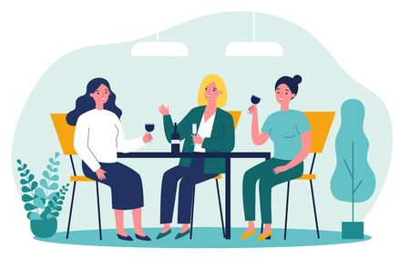 Happy female friends hanging out in cafe. Cheerful women sitting at table, talking, laughing, drinking wine. Vector illustration for communication, friendship, friendly meeting concept
