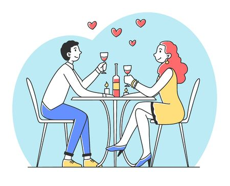 Young couple sitting in restaurant at romantic dinner flat vector illustration. Happy man and woman drinking wine together. Love and anniversary concept. Vectores