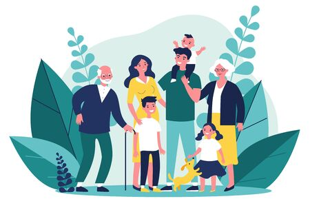 Happy big family standing together flat vector illustration Illustration