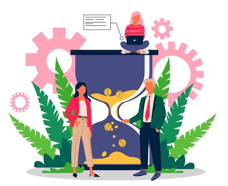 Successful business people managing work time effectively