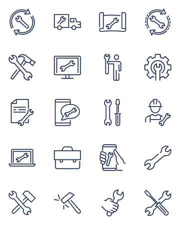Repair signs thin icon set. Wrench symbol, spanner in human hand, on screen, on truck, maintenance tools, toolkit. Line icons for technical support, service, engineering, setup concept Иллюстрация