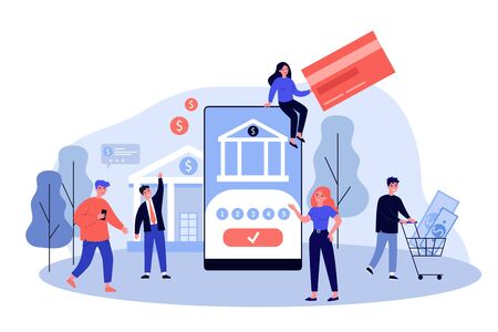 People using smartphones for online payments and money transfer. Vector illustration for mobile banking, finance management, fintech, transaction concept