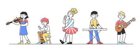 Cute children at school music festival flat vector illustration Reklamní fotografie - 147859551