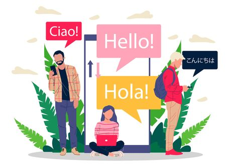 Online multi language translator flat vector illustration