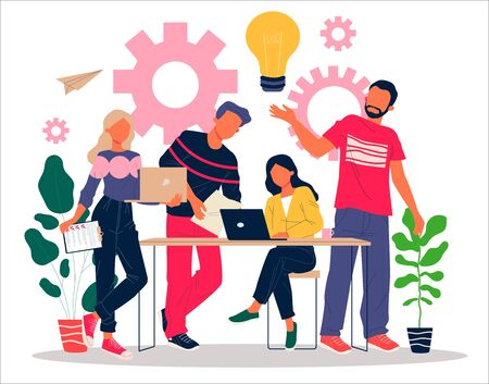Happy team working on startup together. Men and women using laptops, lightbulb, gears flat vector illustration. Ideas, brainstorming, teamwork concept for banner, website design or landing web page Illustration
