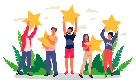 Satisfied customers rating services quality with review stars Vector Illustratie