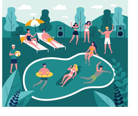 Modern swimming pool party flat vector illustration Illustration