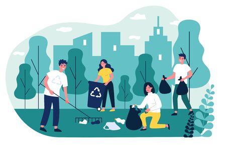 Happy volunteers collecting garbage in city park Ilustração