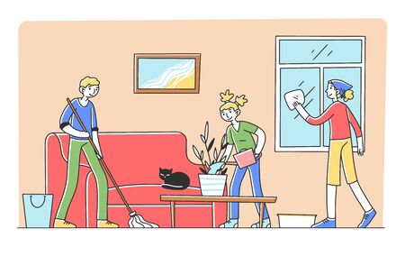 Happy family cleaning apartment together