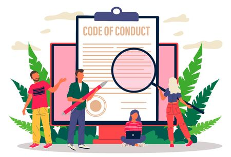Business people studying code of conduct paper Illustration