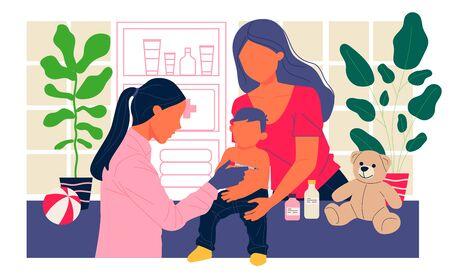 Positive pediatrician vaccinating cute child